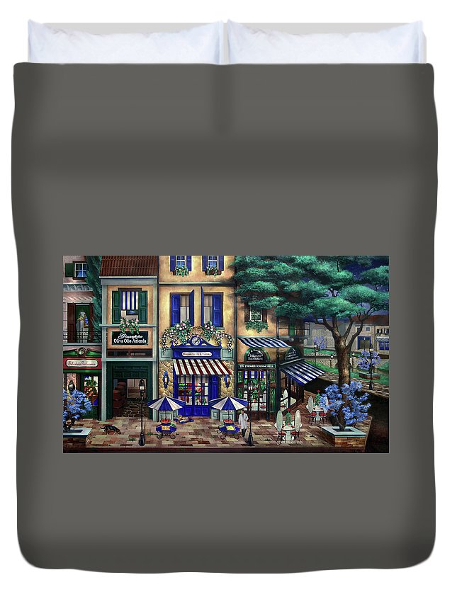 Italian Duvet Cover featuring the mixed media Italian Cafe by Curtiss Shaffer