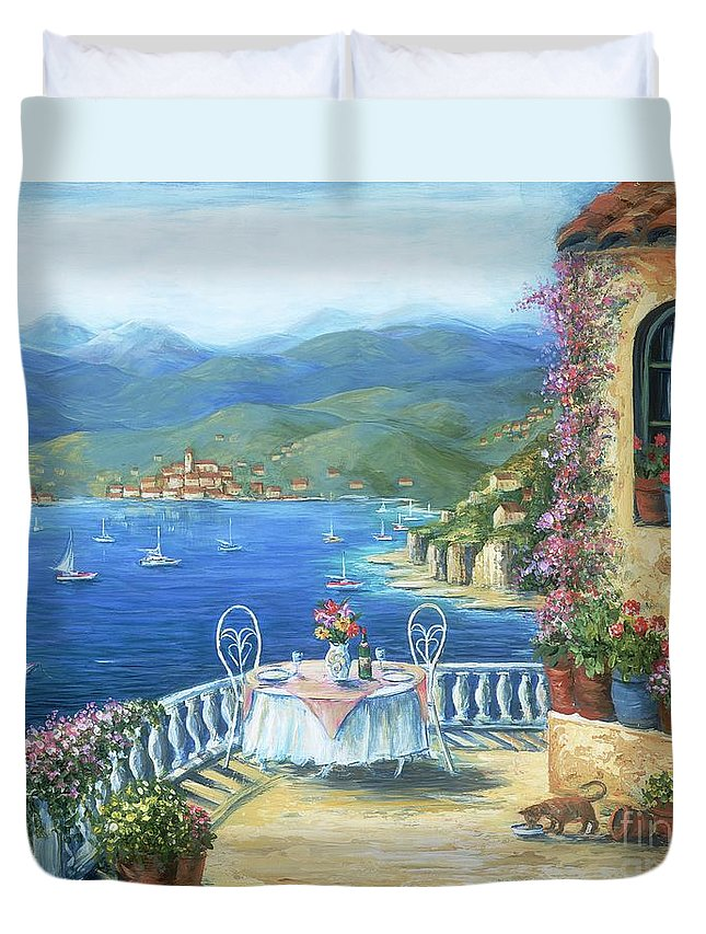Cat Duvet Cover featuring the painting Italian Lunch On The Terrace by Marilyn Dunlap