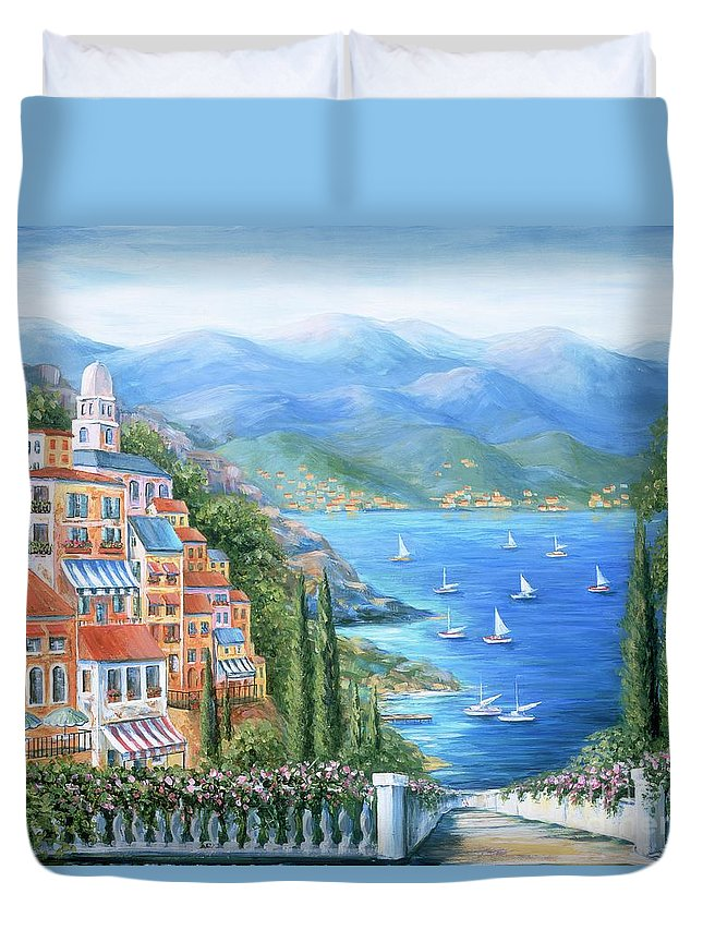Europe Duvet Cover featuring the painting Italian Village By The Sea by Marilyn Dunlap