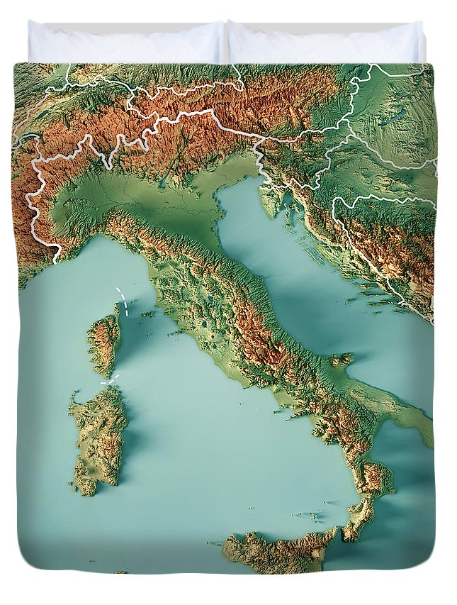 Topographic Map Italy.Italy Country 3d Render Topographic Map Border Duvet Cover For Sale