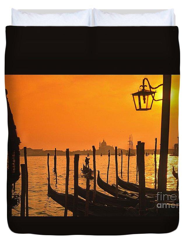 Boot Duvet Cover featuring the photograph Italy Venice Riva degli Schiavoni , Canale Grande Riva degli Sch by Juergen Held