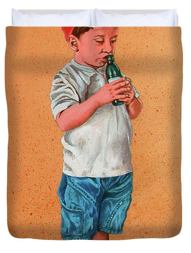 Summer Duvet Cover featuring the painting It's A Hot Day - Es Un Dia Caliente by Rezzan Erguvan-Onal