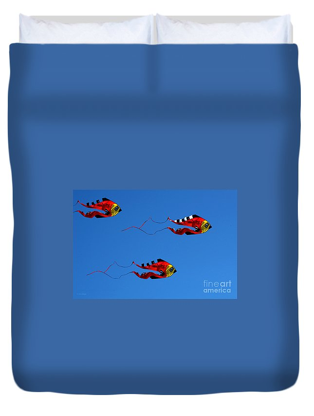 Clay Duvet Cover featuring the photograph It's A Kite Kind Of Day by Clayton Bruster