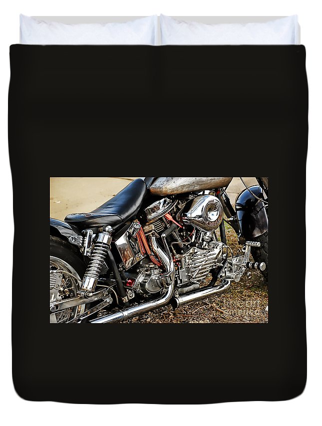 Harley Davidson Duvet Cover featuring the photograph Its All Good by Tony Bazidlo