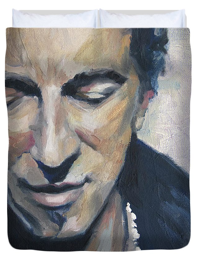 Bruce Duvet Cover featuring the painting It's Boss Time II - Bruce Springsteen Portrait by Khairzul MG