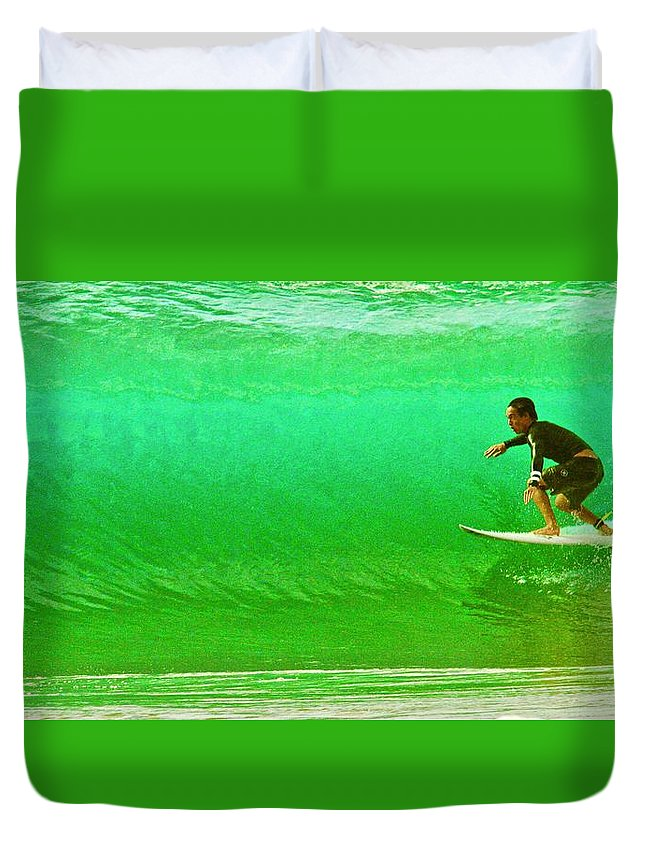 Surf Duvet Cover featuring the photograph It's Not Easy Being Green by Mike Judice