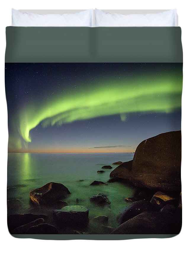 Aurora Duvet Cover featuring the photograph It's Not Even Night Yet by Alex Conu