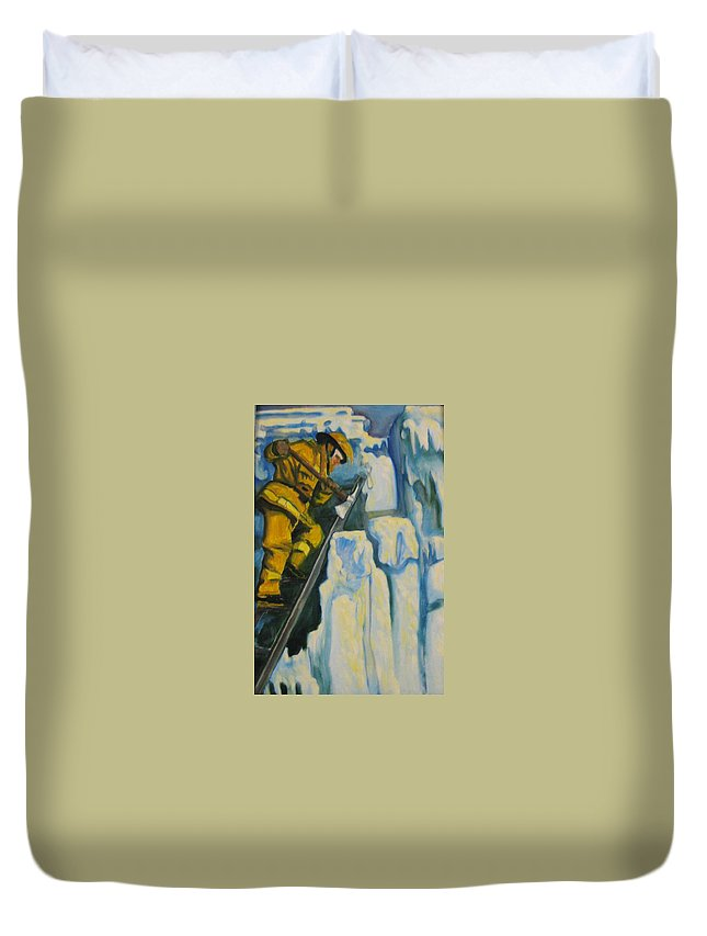 Firefighters Duvet Cover featuring the painting Its Not Over Till Its Over by John Malone