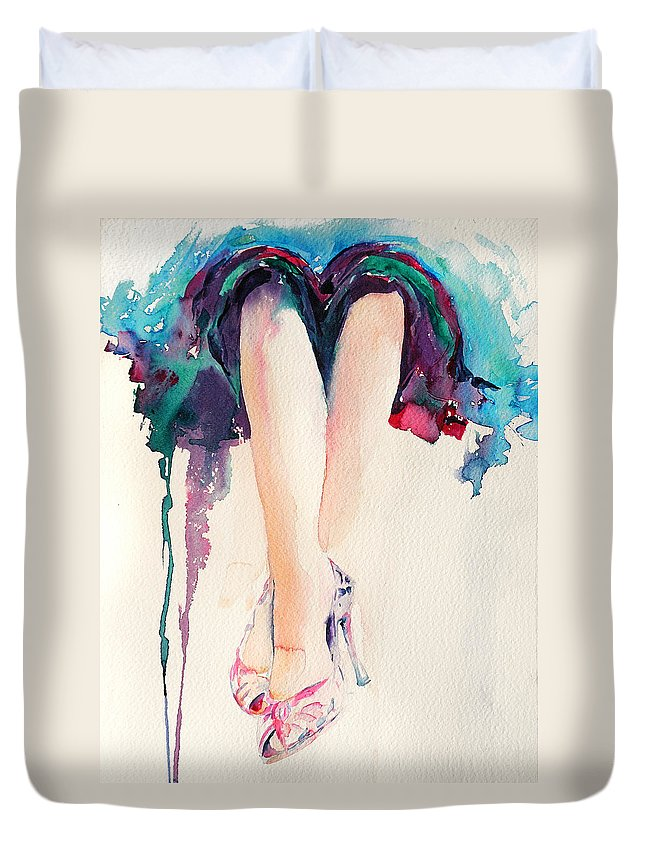 Legs Duvet Cover featuring the painting It's Party Time by Stephie Butler