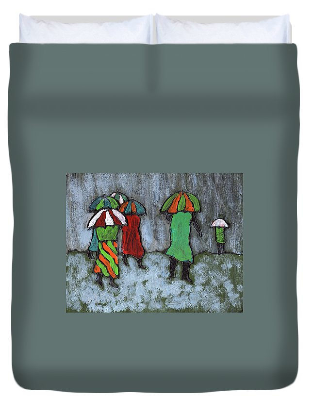 Etnic Duvet Cover featuring the painting It's Raining It's Pouring by Wayne Potrafka