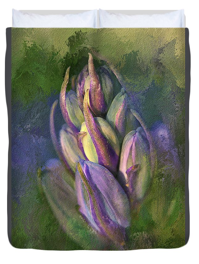 Bluebells Duvet Cover featuring the digital art Itty Bitty Baby Bluebells by Lois Bryan