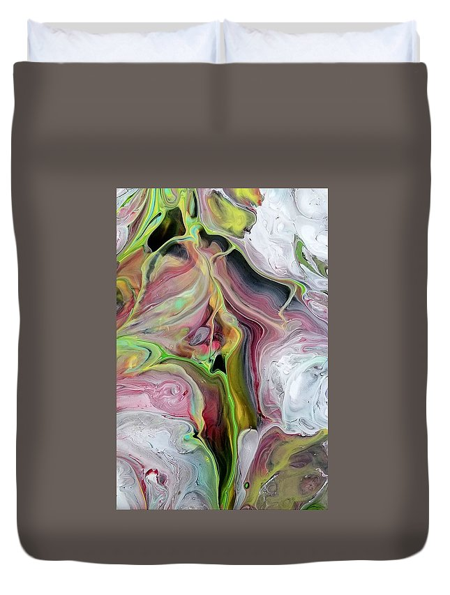 Abstract Duvet Cover featuring the painting Ivy by Rosa Lopez
