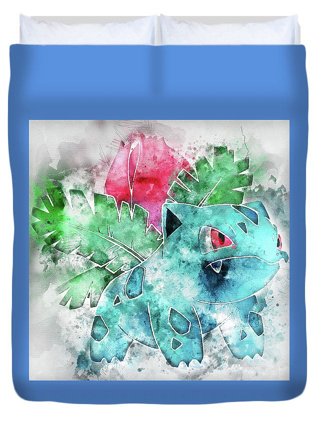 Pokemon Duvet Cover featuring the painting Pokemon Ivysaur Abstract Portrait - By Diana Van by Diana Van