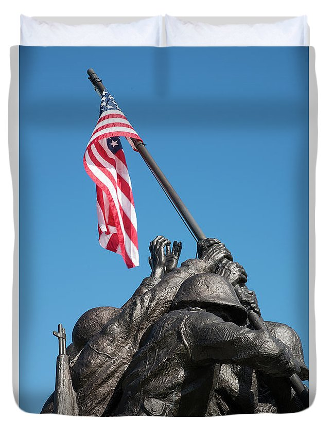 Cape Coral Duvet Cover featuring the photograph Iwo Jima 1945 - War Memorial, Cape Coral, Florida by Timothy Wildey