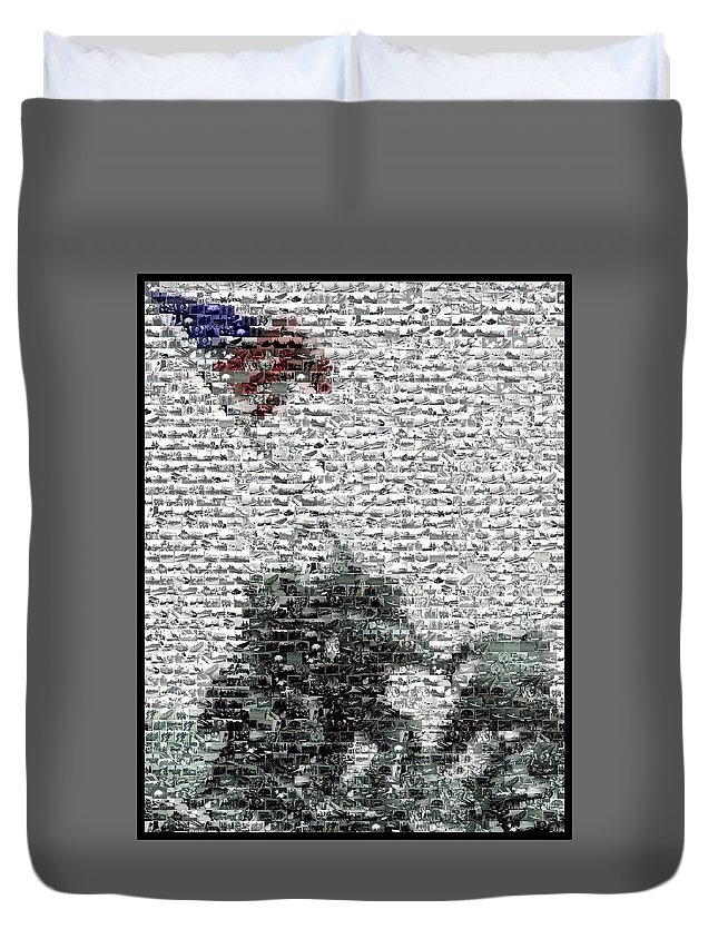 Flag Raising Duvet Cover featuring the mixed media Iwo Jima War Mosaic by Paul Van Scott