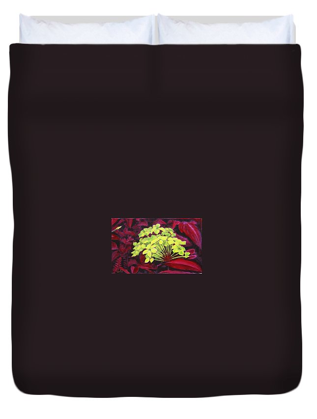 Foliage Duvet Cover featuring the painting Ixora - Jungle Flame by Usha Shantharam