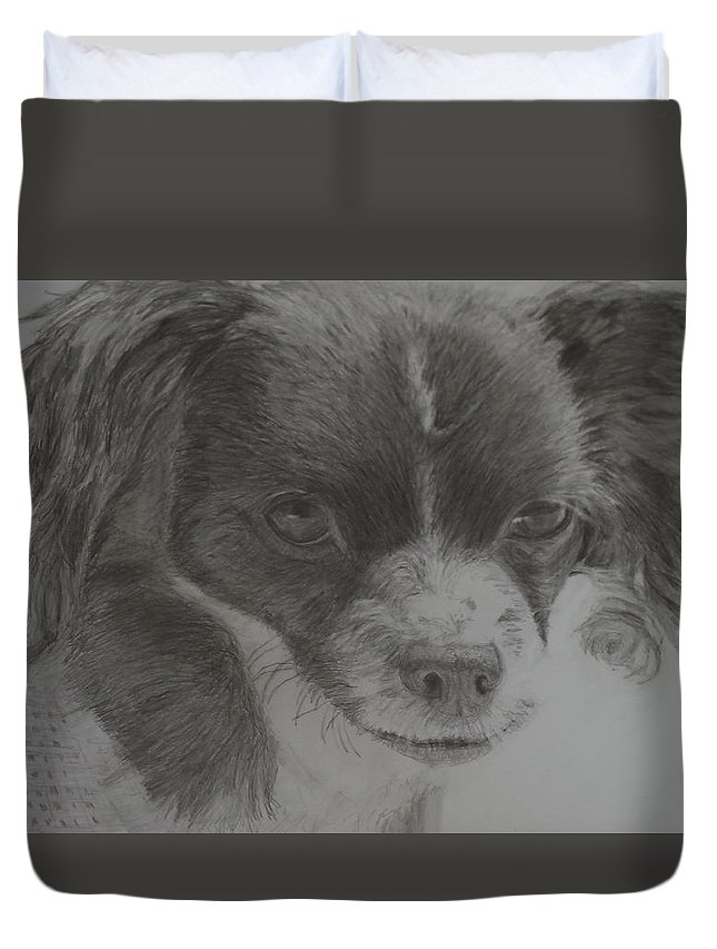 Dog Duvet Cover featuring the drawing Izzy by Linda McMillen