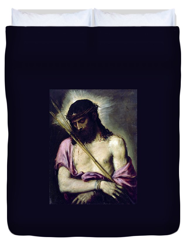Jesus Duvet Cover featuring the painting J E S U S by Munir Alawi