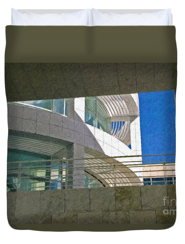 J. Paul Getty Museum Los Angeles Ca Administration Building Abstract View Duvet Cover featuring the photograph J. Paul Getty Museum Abstract View by David Zanzinger