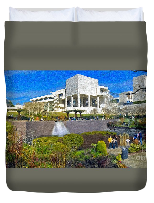 J Paul Getty Duvet Cover featuring the photograph J. Paul Getty Museum Central Garden Panorama by David Zanzinger