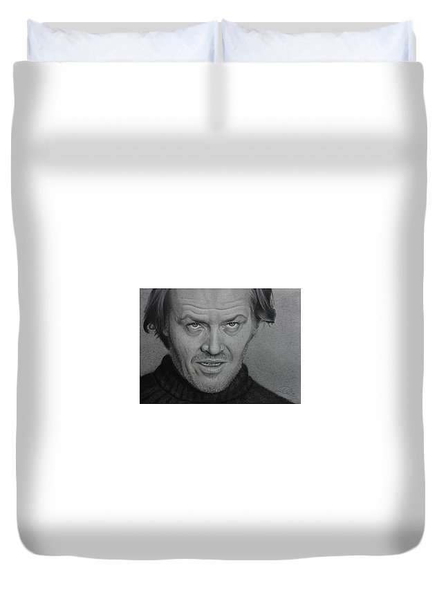 Drawing Duvet Cover featuring the drawing Jack Nicholson by David Powers