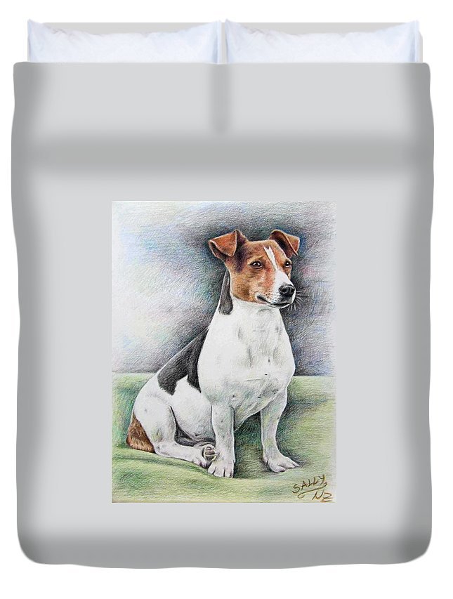 Dog Duvet Cover featuring the drawing Jack Russell Terrier by Nicole Zeug
