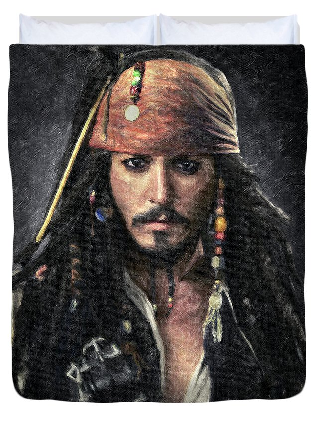 Jack Sparrow Duvet Cover featuring the painting Jack Sparrow by Zapista