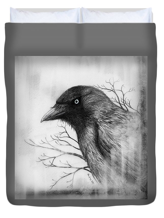 Jackdaw Duvet Cover featuring the mixed media Jackdaw At My Window by Philip Harvey