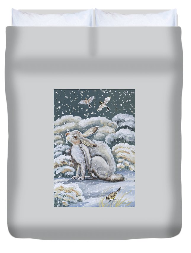 Animal Duvet Cover featuring the painting Jackrabbit And Horned Larks by Dawn Senior-Trask