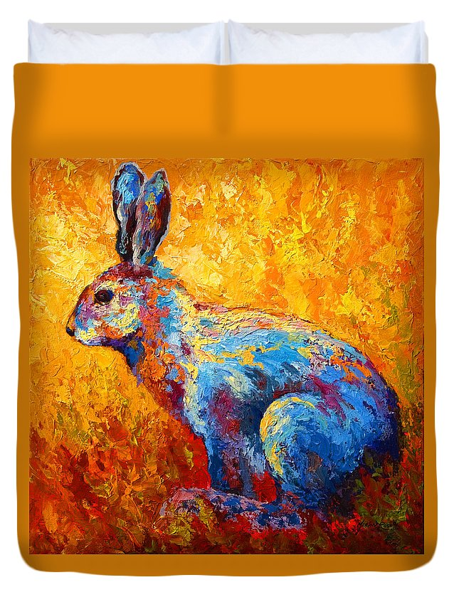 Rabbit Duvet Cover featuring the painting Jackrabbit by Marion Rose