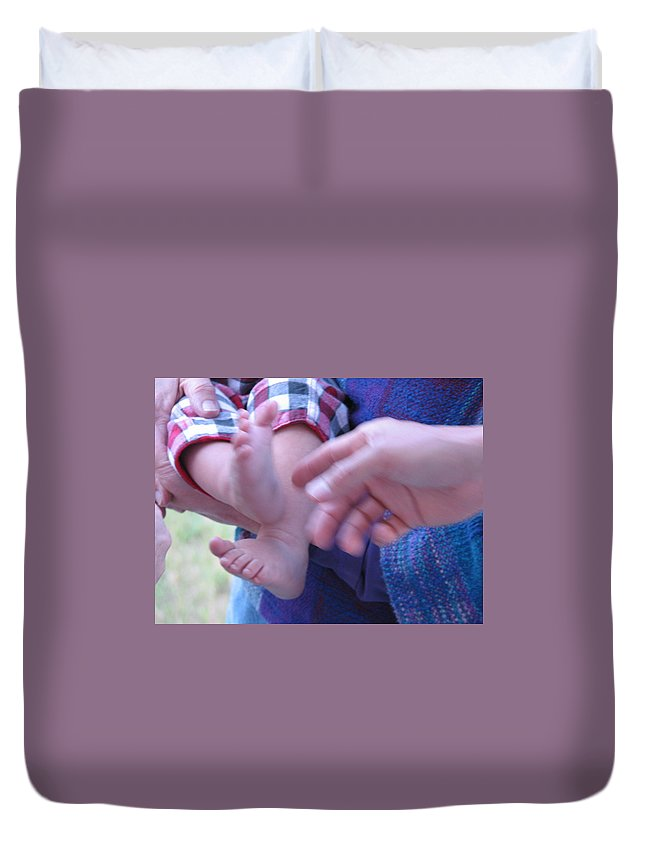 Feet Duvet Cover featuring the photograph Jack's Feet by Kelly Mezzapelle