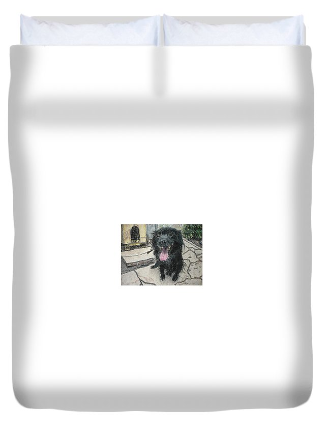 Dog Duvet Cover featuring the pastel Jackson by Evgeni Yanakov