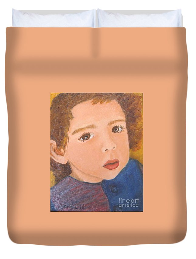 Portrait Duvet Cover featuring the painting Jackson by Laurie Morgan