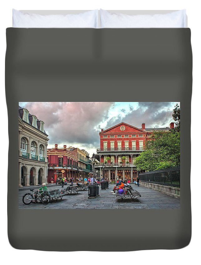 Jackson Square Duvet Cover featuring the photograph Jackson Square Evening by Diana Powell