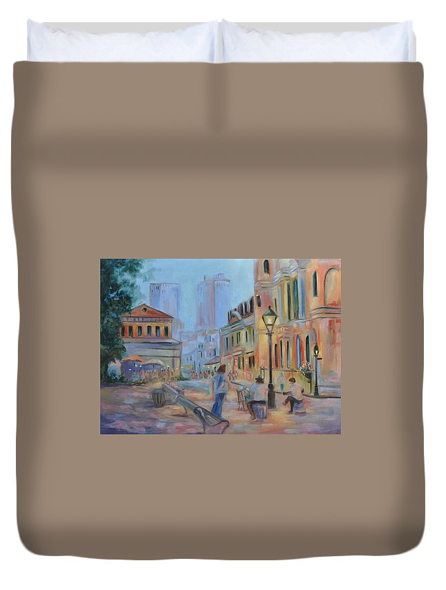New Orleans Duvet Cover featuring the painting Jackson Square Musicians by Ginger Concepcion