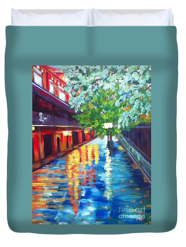 Building Duvet Cover featuring the painting Jackson Square Reflections by Beverly Boulet