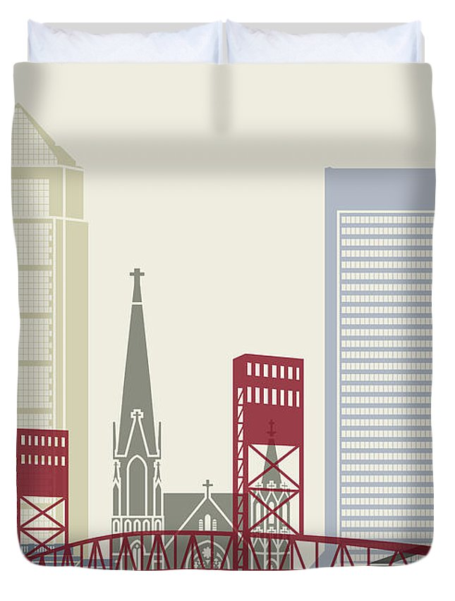 United States Duvet Cover featuring the painting Jacksonville Skyline Poster by Pablo Romero