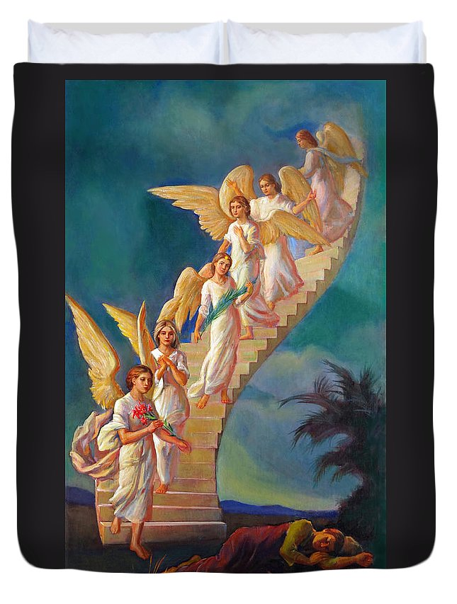 Jacob Duvet Cover featuring the painting Jacob's Ladder - Jacob's Dream by Svitozar Nenyuk