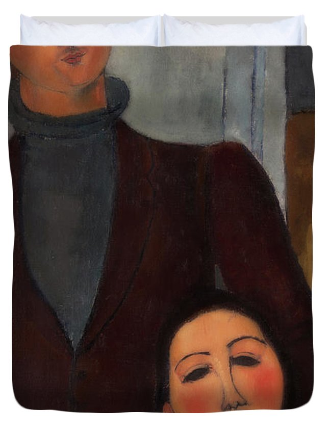 Painting Duvet Cover featuring the painting Jacques And Berthe Lipchitz by Armedeo Modigliani