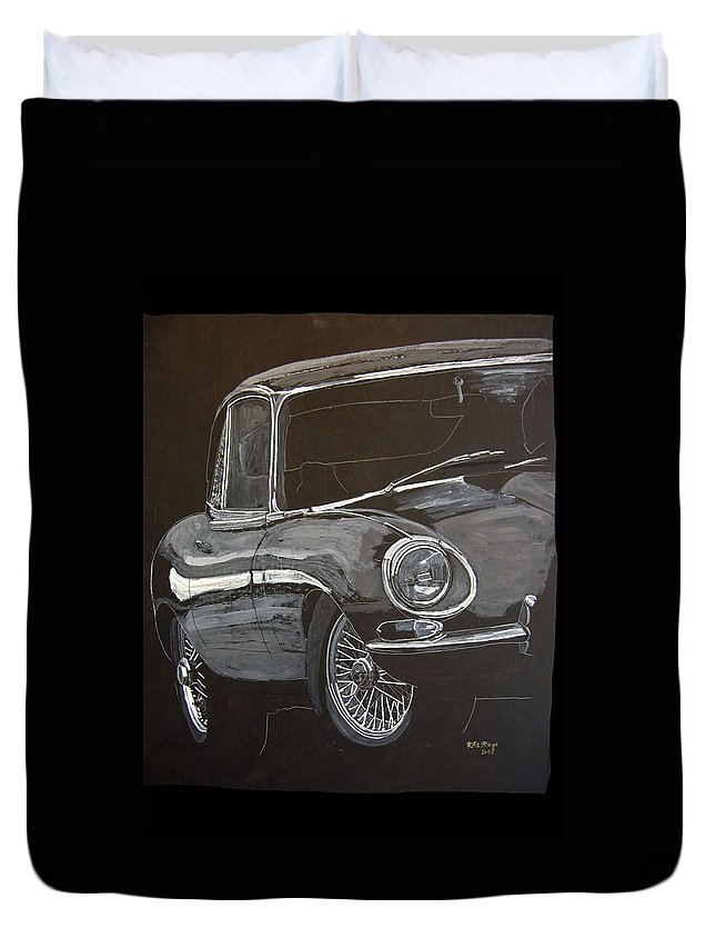 Jaguar Duvet Cover featuring the painting Jaguar E Type by Richard Le Page