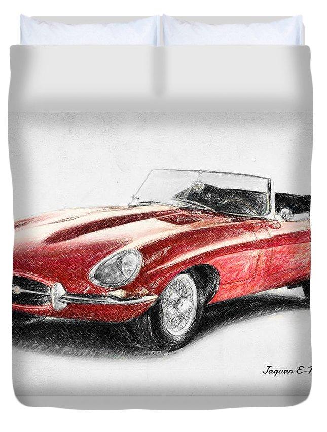 Jaguar E-type Duvet Cover featuring the drawing Jaguar E-type by Zapista Zapista