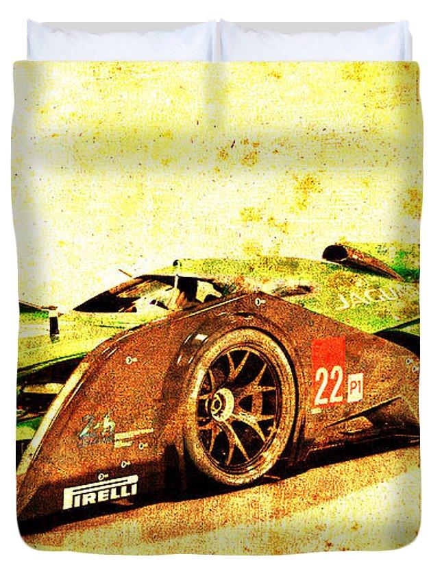 Jaguar Duvet Cover featuring the drawing Jaguar Le Mans 2015, Race Car, Fast Car, Gift For Men by Drawspots Illustrations