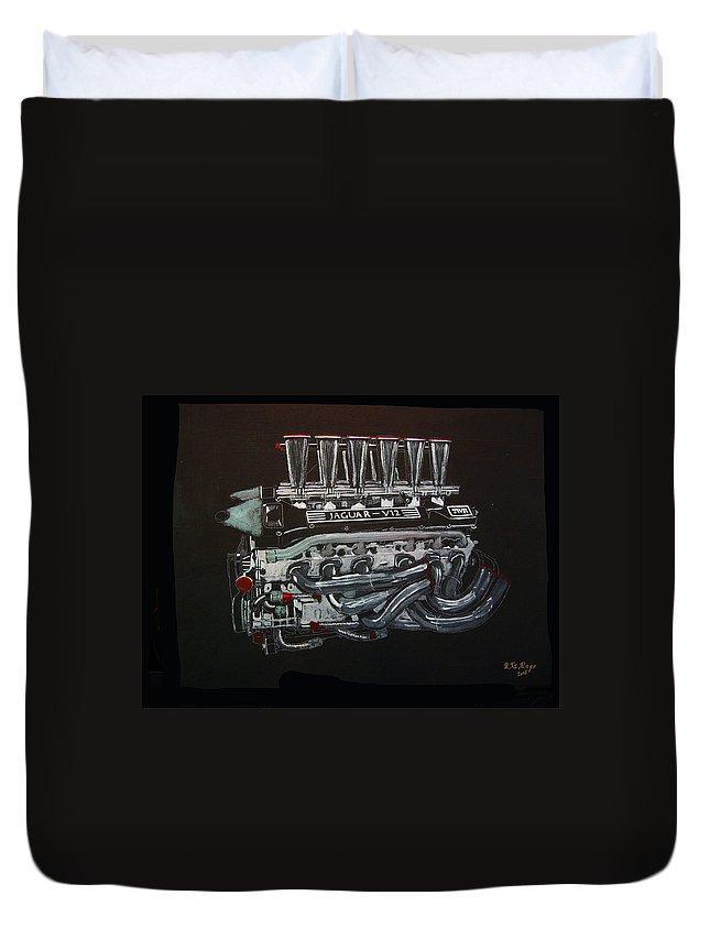 Jaguar Duvet Cover featuring the painting Jaguar V12 Twr Engine by Richard Le Page