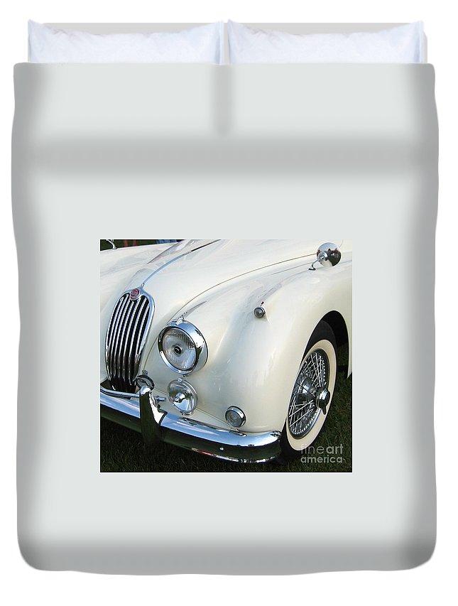 Jaguar Duvet Cover featuring the photograph Jaguar Xk150 by Neil Zimmerman