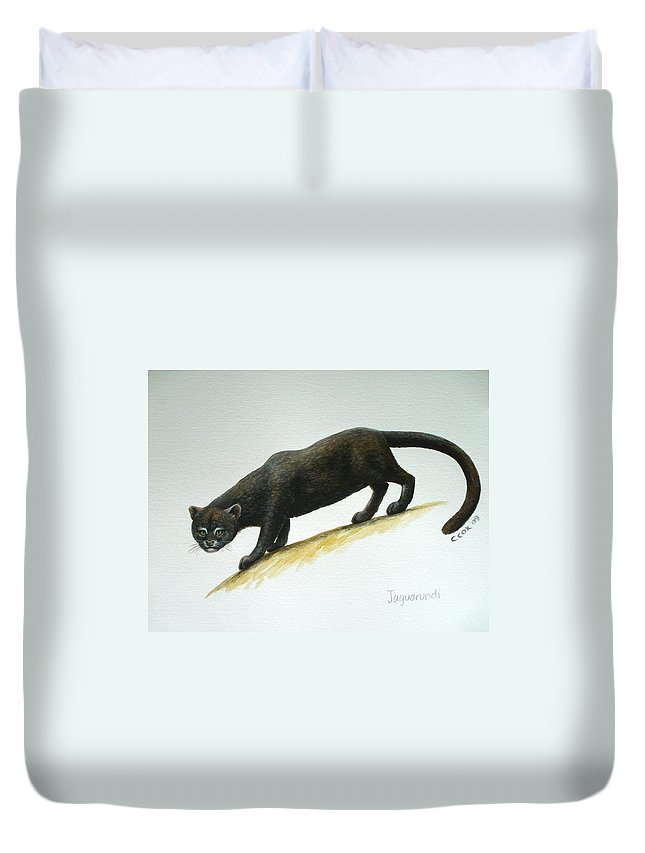 Jaguarundi Duvet Cover featuring the painting Jaguarundi by Christopher Cox