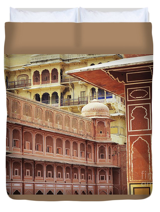 Architecture Duvet Cover featuring the photograph Jaipur City Palace by Kyle Rothenborg - Printscapes