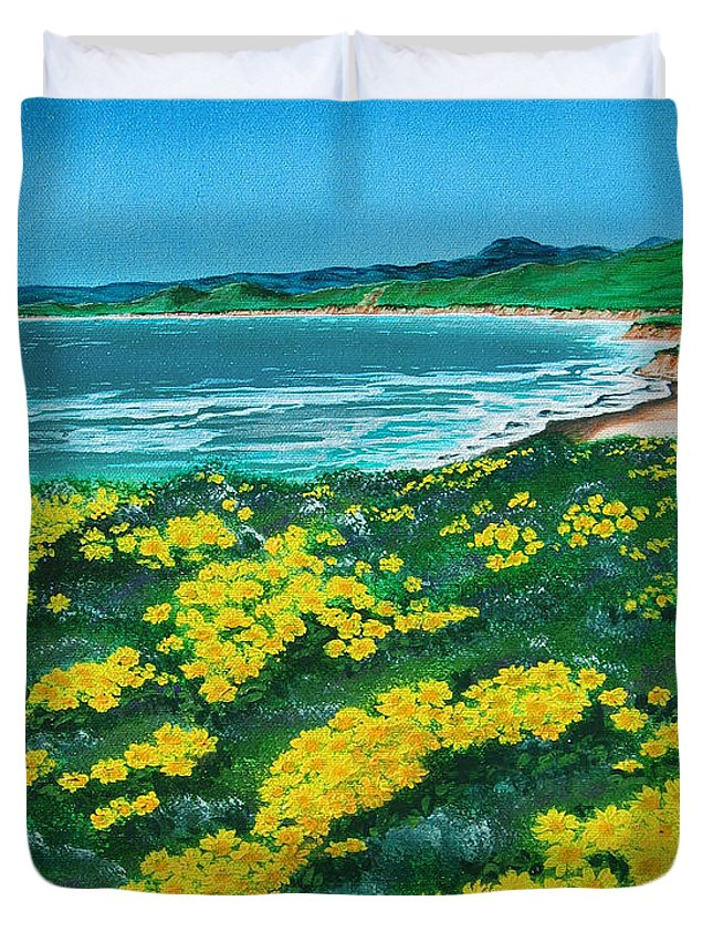 Jalama Duvet Cover featuring the painting Jalama Beach by Angie Hamlin