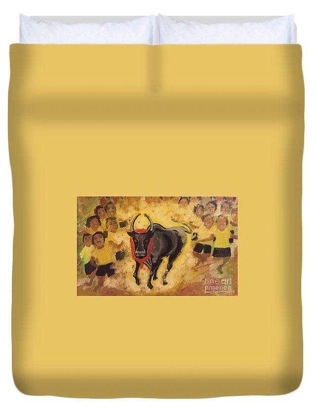Jallikattu Duvet Cover featuring the painting Jallikattu by Brindha Naveen