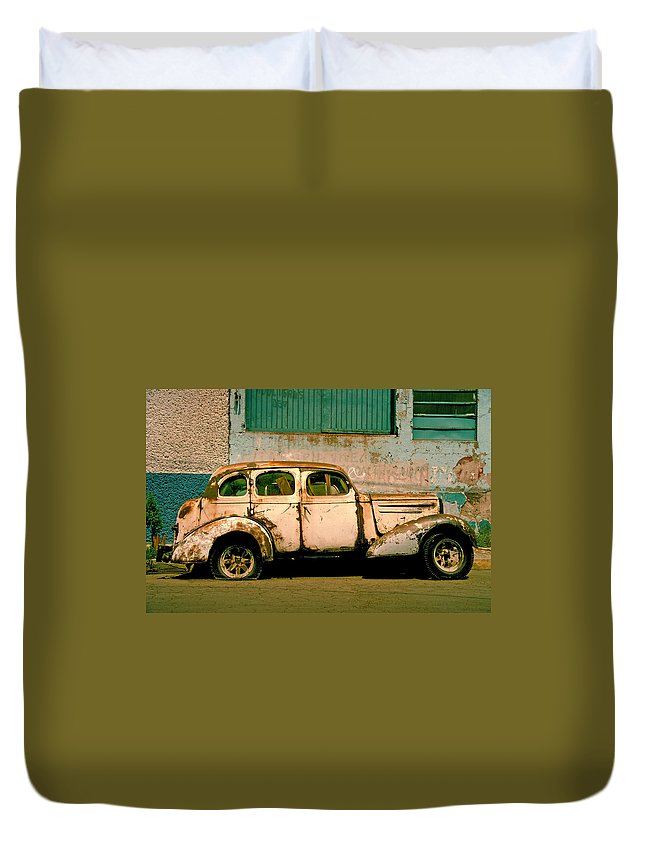 Skip Duvet Cover featuring the photograph Jalopy by Skip Hunt