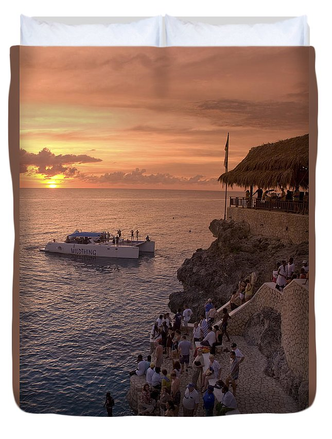 Air Duvet Cover featuring the photograph Jamaica Negril Ricks Cafe by Juergen Held